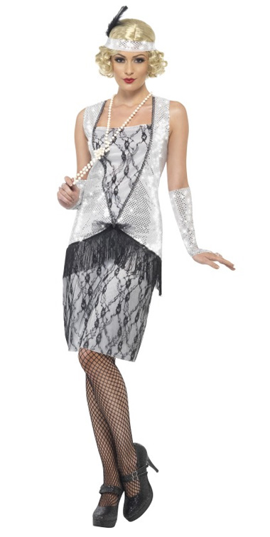 1920'S SILVER & BLACK FLAPPER COSTUME - MEDIUM