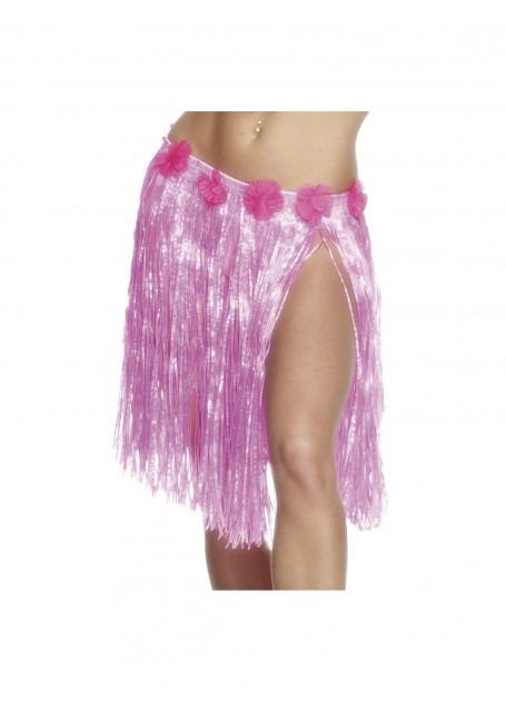 HAWAIIAN HULA SHORT SKIRT NEON PINK FLOWERED WAIST