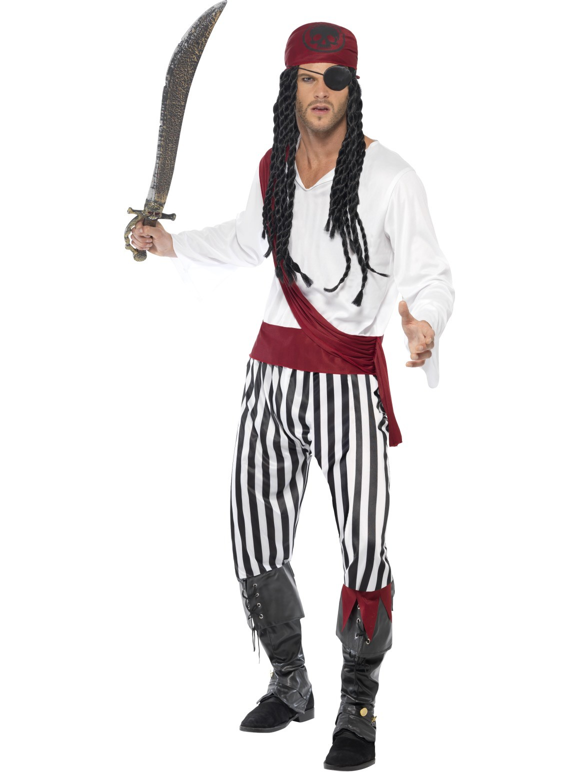 PIRATE ADULT BLACK & WHITE COSTUME