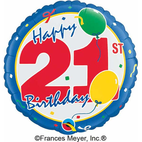 FOIL BALLOON - 21ST BIRTHDAY PARTY BLUE
