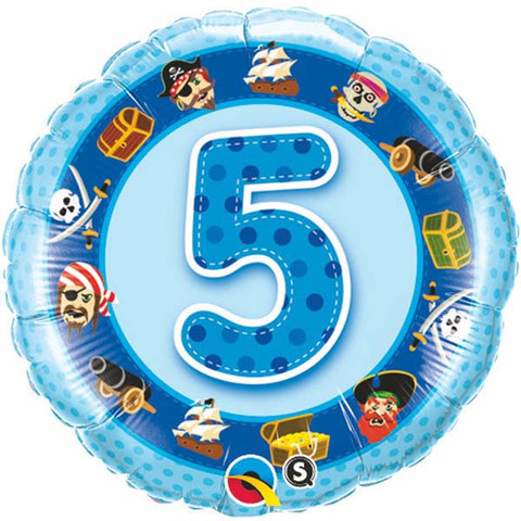 Image of Foil Balloon  5th Birthday Party In Blue