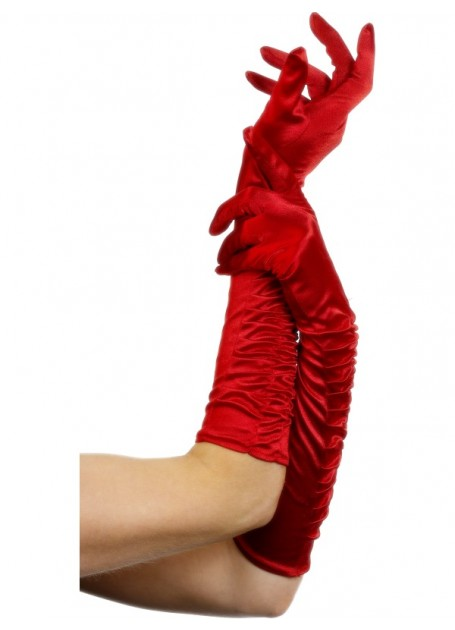 RED THEATRICAL GLOVES WITH RUCHING