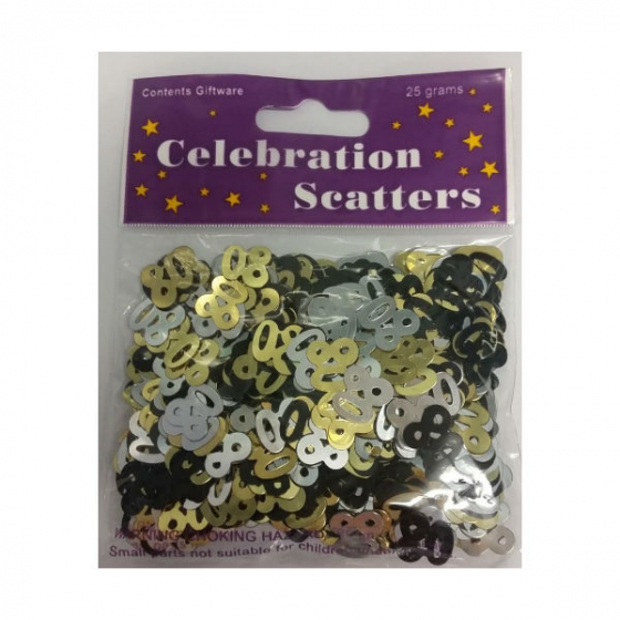 80TH BIRTHDAY SCATTERS - GOLD, BLACK & SILVER
