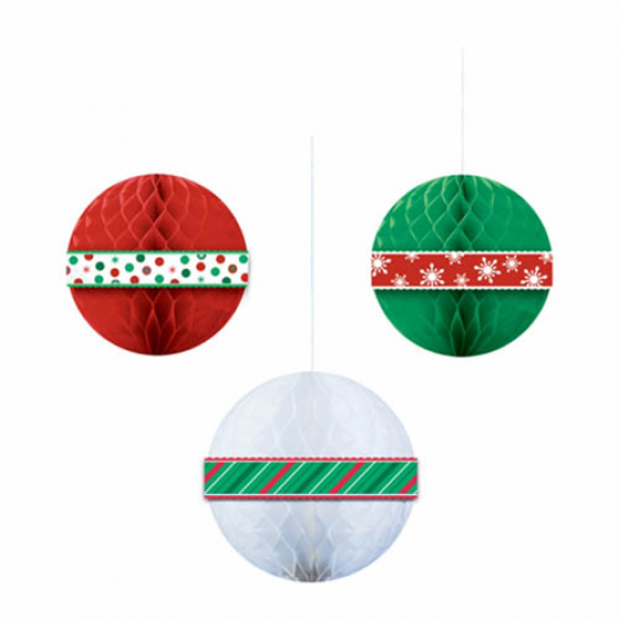 CHRISTMAS HANGING HONEYCOMB BALLS - PACK OF 3
