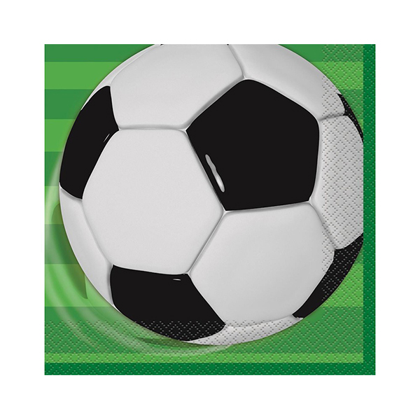 SOCCER PARTY LUNCH NAPKINS - PACK OF 16