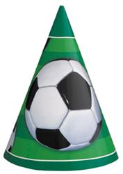 SOCCER PARTY HATS - PACK OF 8