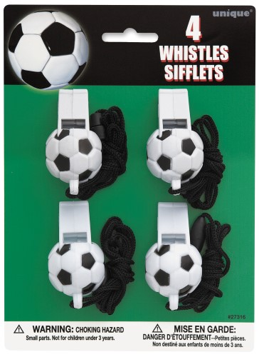 PARTY FAVOURS - SOCCER 3D WHISTLES - PACK OF 4