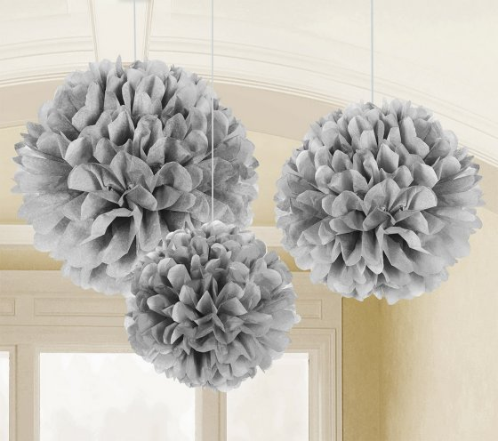 POM POM FLUFFY TISSUE DECORATION - SILVER IN A PACK OF 3