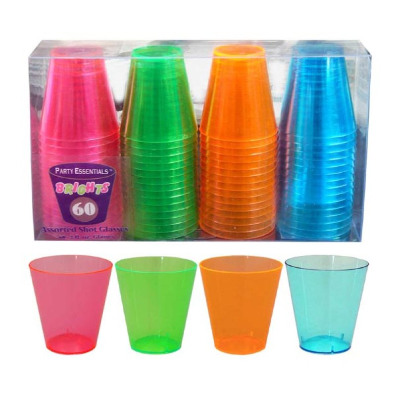SHOT GLASSES 4 COLOURS 30ML - PACK 60