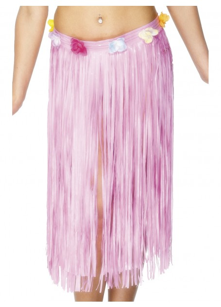 Image of Hawaiian Hula Skirt  Pink With Flowered Waist Long