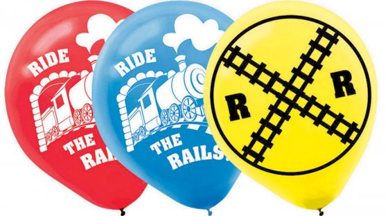 BALLOONS LATEX - TRAINS - PACK 6