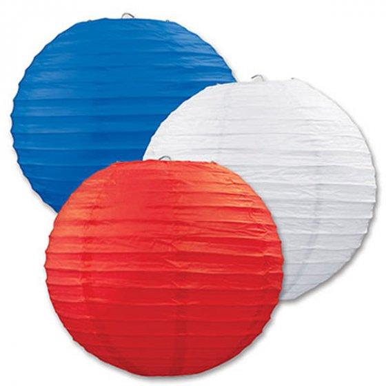 PATRIOTIC RED, WHITE & BLUE 30CM CHINESE LANTERNS PK OF 3