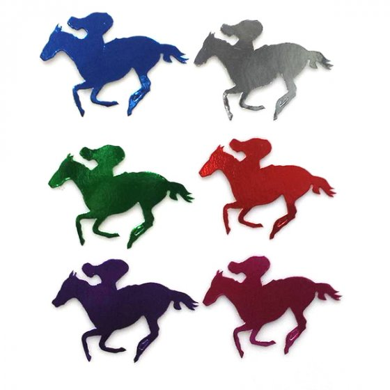 FOILBOARD MULTI-COLOURED HORSE & JOCKEY SMALL CUTOUTS - PK OF 12