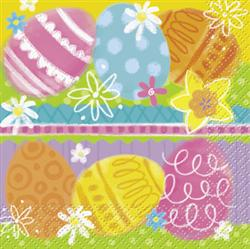 SPRING EGGS COCKTAIL NAPKINS - PACK OF 16