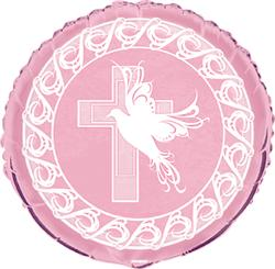 FOIL BALLOON - DOVE CROSS PINK
