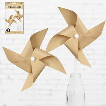NATURAL KRAFT WINDMILLS - PACK OF 2