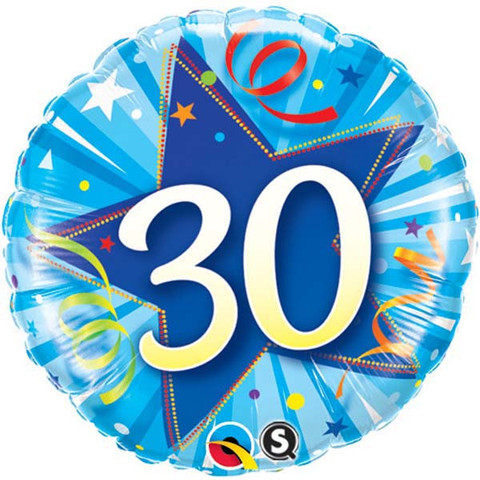 FOIL BALLOON - 30TH BIRTHDAY SHINING STAR BLUE