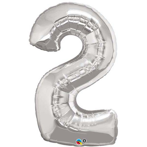 FOIL BALLOON SUPER SHAPE - NUMBER 2 SILVER