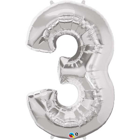FOIL BALLOON SUPER SHAPE - NUMBER 3 SILVER
