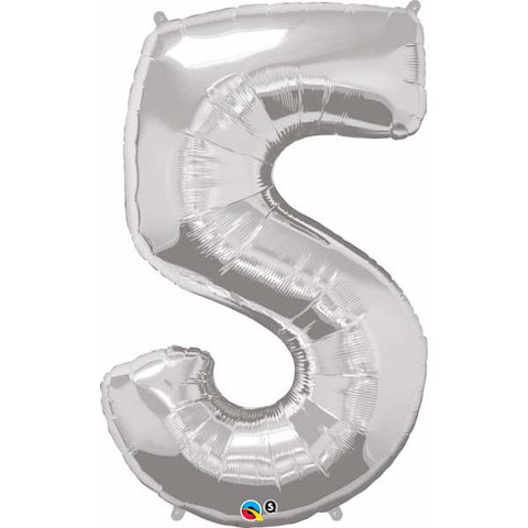 FOIL BALLOON SUPER SHAPE - NUMBER 5 SILVER