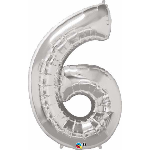 FOIL BALLOON SUPER SHAPE - NUMBER 6 SILVER