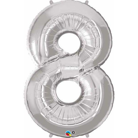FOIL BALLOON SUPER SHAPE - NUMBER 8 SILVER