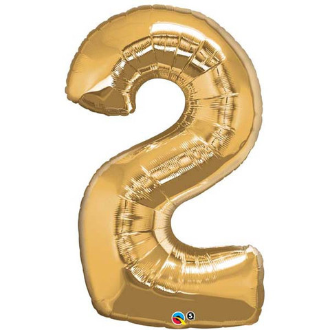 FOIL BALLOON SUPER SHAPE - NUMBER 2 GOLD
