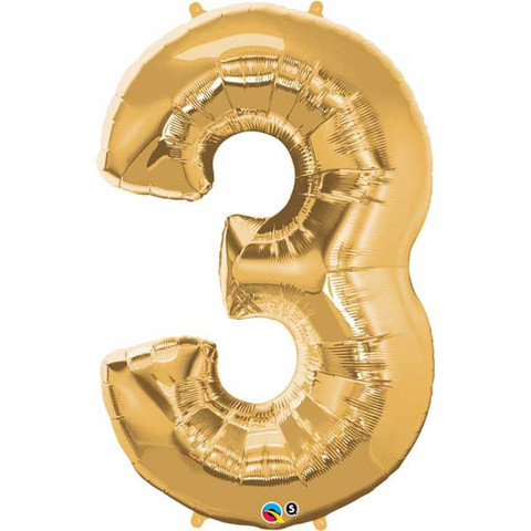 FOIL BALLOON SUPER SHAPE - NUMBER 3 GOLD