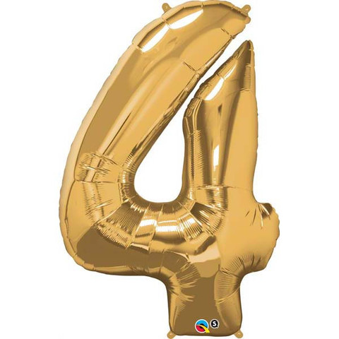 FOIL BALLOON SUPER SHAPE - NUMBER 4 GOLD