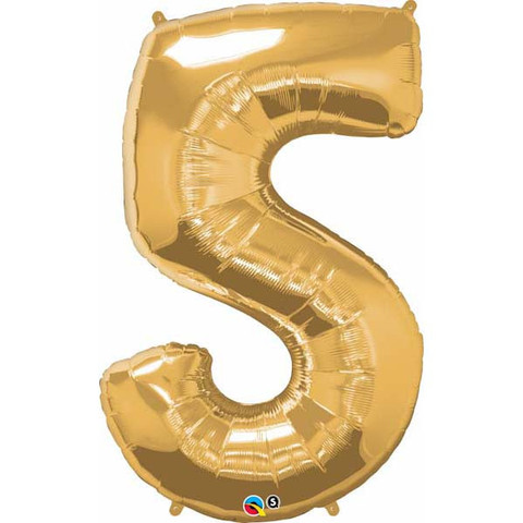 FOIL BALLOON SUPER SHAPE - NUMBER 5 GOLD