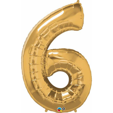 FOIL BALLOON SUPER SHAPE - NUMBER 6 GOLD
