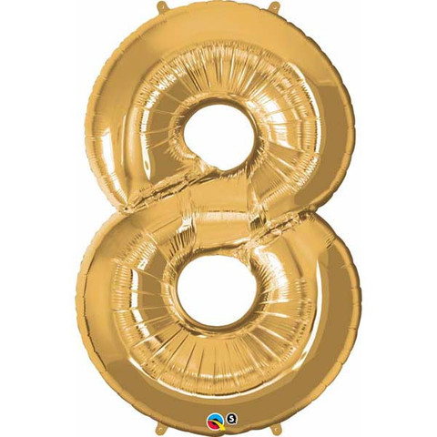 FOIL BALLOON SUPER SHAPE - NUMBER 8 GOLD