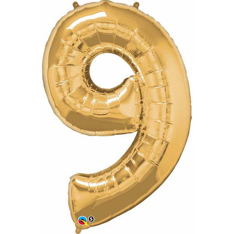 FOIL BALLOON SUPER SHAPE - NUMBER 9 GOLD