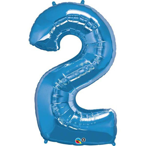 FOIL BALLOON SUPER SHAPE - NUMBER 2 BLUE