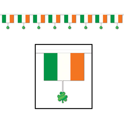 IRISH FLAGS & SHAMROCK DANGLER BANNER 3.7M