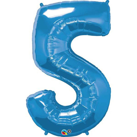 FOIL BALLOON SUPER SHAPE - NUMBER 5 BLUE