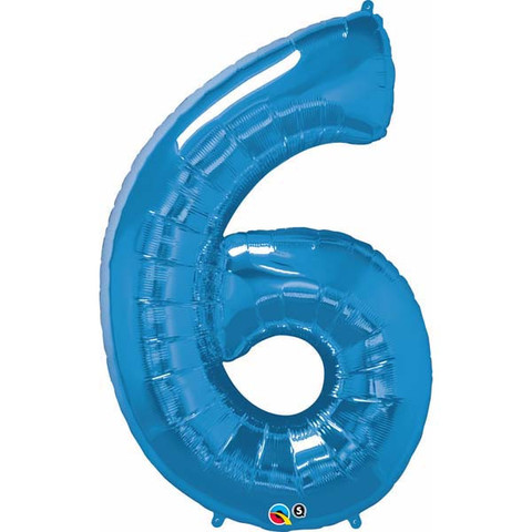 FOIL BALLOON SUPER SHAPE - NUMBER 6 BLUE