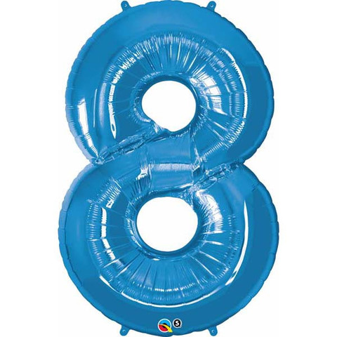 FOIL BALLOON SUPER SHAPE - NUMBER 8 BLUE