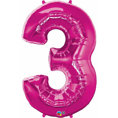FOIL BALLOON SUPER SHAPE - NUMBER 3 PINK