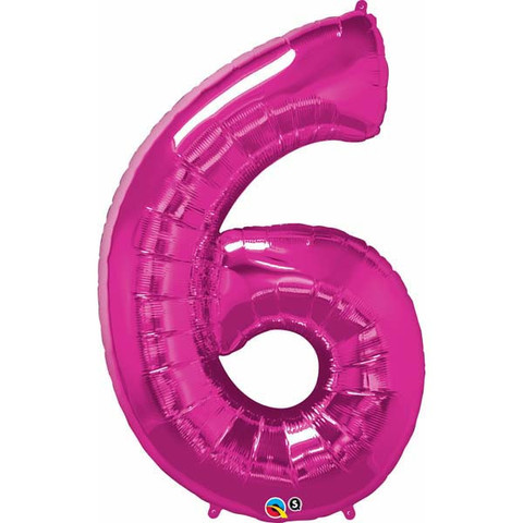 FOIL BALLOON SUPER SHAPE - NUMBER 6 PINK