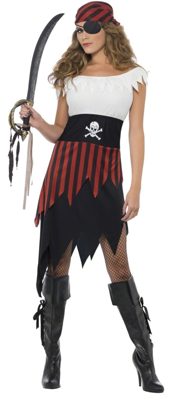 PIRATE WENCH BLACK & RED WITH HEAD SCARF - MEDIUM