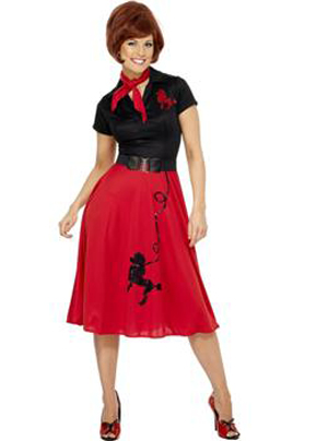 1950'S RED & BLACK POODLE DRESS
