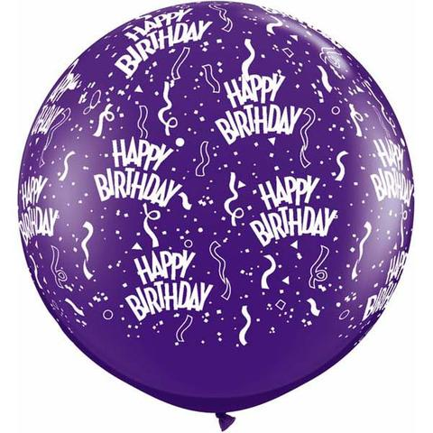 BALLOONS LATEX - QUARTZ PURPLE 'HAPPY BIRTHDAY' 3' ROUND