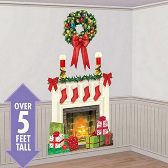 CHRISTMAS WREATH & HEARTH SCENE SETTER