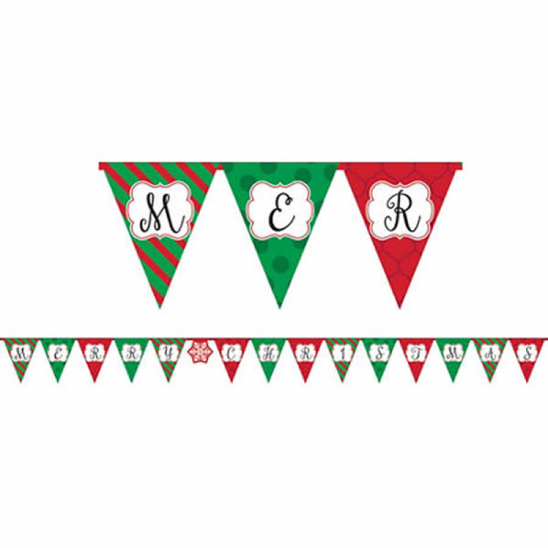 MERRY CHRISTMAS PRINTED PAPER BANNER
