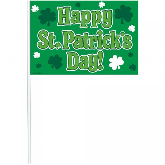 HAPPY ST. PATRICK'S DAY FLAG WAVER - BULK PACK OF 12