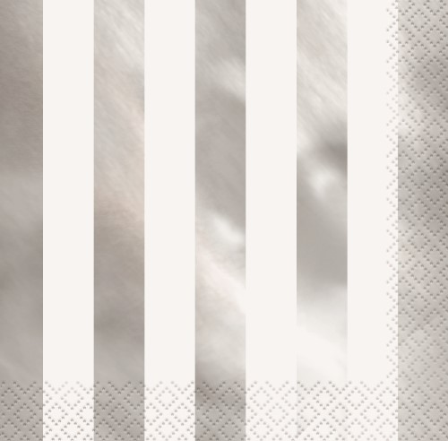 NAPKINS - WHITE WITH SILVER FOIL STRIPE LUNCH - PACK OF 16