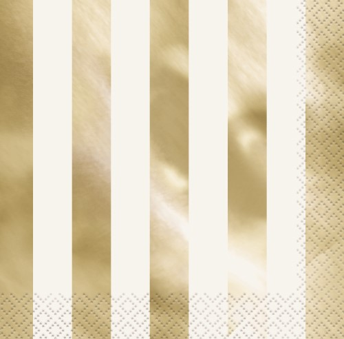 NAPKINS - WHITE WITH GOLD FOIL STRIPE LUNCH - PACK OF 16
