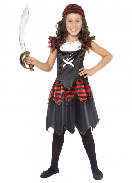 PIRATE SKULL AND CROSSBONE GIRLS COSTUME - SMALL