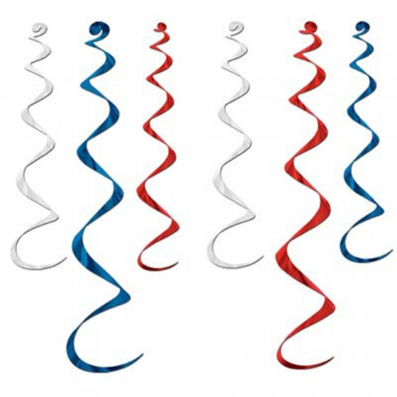 METALLIC FOIL SWIRLS - RED, BLUE & SILVER PACK OF 6